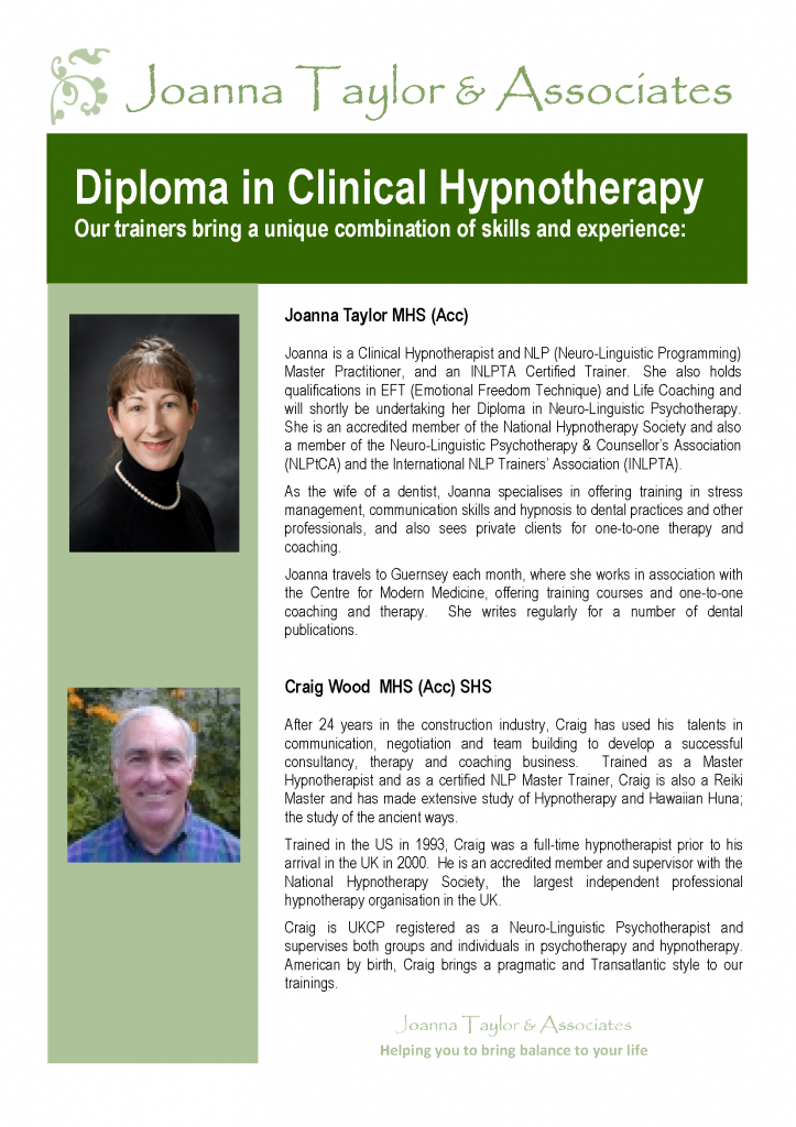 diploma in clinical hypnotherapy page 2